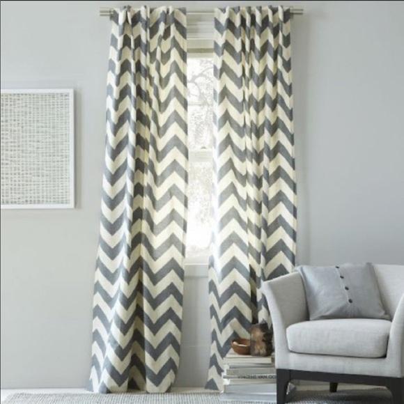 West Elm Other - West Elm Grey & Beige Chevron Curtains